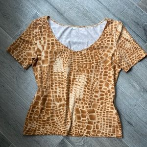 Escada Giraffe Animal Print Short Sleeve Shirt